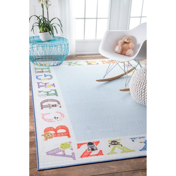 Nuloom Alphabet Border Kids Nursery Baby Blue Rug 5 X27 X 8