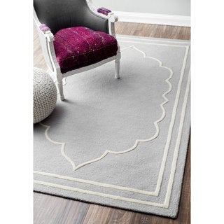 nuLOOM Handmade Abstract Fancy Border Wool Grey Rug (4' x 6')