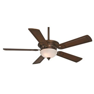 Casablanca Fan Whitman 54-inch Bronze Patina with 5 Walnut Carved Wood Blades
