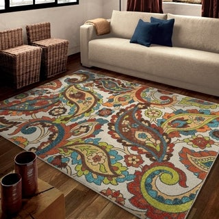 "Carolina Weavers Brighton Collection Paisley Flying Florals Multi Area Rug (5'3 x 7'6) - 5'3"" x 7'6"""