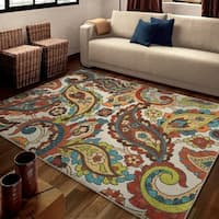 Carolina Weavers Brighton Collection Paisley Flying Florals Multi Area Rug (5'3 x 7'6)