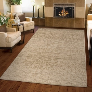 Carolina Weavers Ornate Expressions Collection Palermo Beige Area Rug (5'3 x 7'6)
