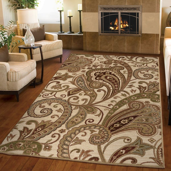 Carolina Weavers Ornate Expressions Collection Tansy Beige Area Rug (5u00273 X  ...
