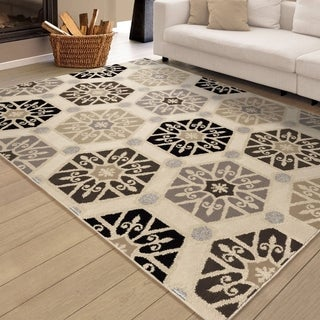 "Carolina Weavers Soft Medallions Hexaparth Ivory Area Rug (5'3 x 7'6) - 5'3"" x 7'6"""