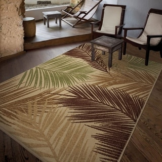 "Carolina Weavers Indoor/Outdoor Leaves Palmbreeze Beige Area Rug (5'2"" x 7'6"")"