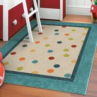 """Carolina Weavers Playroom Collection Dotted Border Teal Area Rug - 5'2"""" x 7'6"""""""