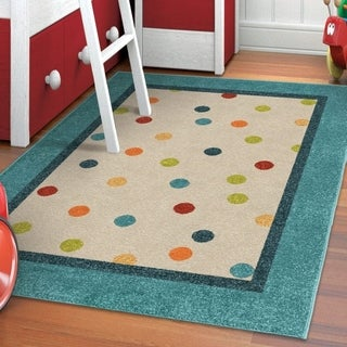 Carolina Weavers Playroom Collection Dotted Border Teal Area Rug (5'2 x 7'6) - 5'2 x 7'6