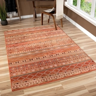 "Carolina Weavers Bold Striped Desert Trail Red Area Rug (5'3"" x 7'6"")"