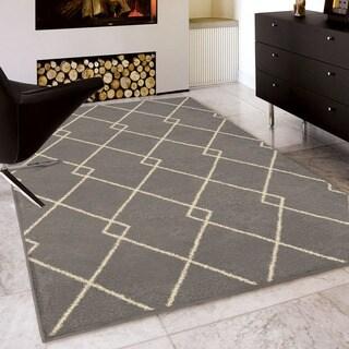 Carolina Weavers Serenity Collection Diamond Divide Taupe Area Rug (5'3 x 7'6)