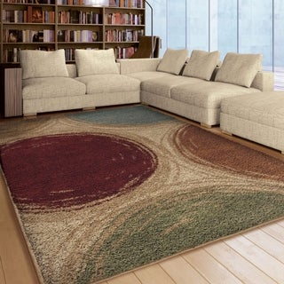 "Carolina Weavers Plush Depicted Circles Multi Area Rug (5'3"" x 7'6"")"