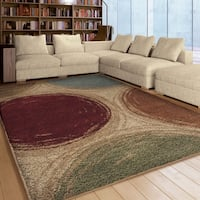 Carolina Weavers Riveting Shag Collection Depicted Circles Multi Shag Area Rug (5'3 x 7'6)