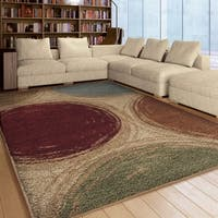 Carolina Weavers Riveting Shag Collection Depicted Circles Multi Shag Area Rug - 5'3 x 7'6