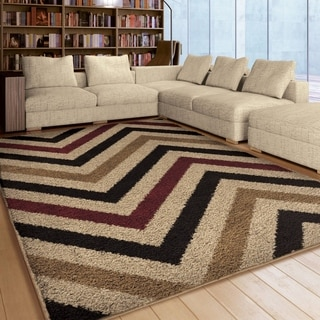 Carolina Weavers Riveting Shag Collection Dunning Multi Area Rug (5'3 x 7'6)