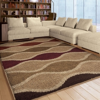Carolina Weavers Riveting Shag Collection Pulsing Waves Multi Shag Area Rug (5'3 x 7'6)