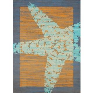 """Panama Jack Island Breeze Starfish Border Accent Rug (1'10"""" x 3')"""