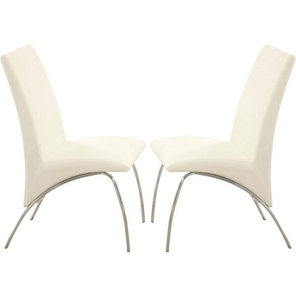 Kershner Contemporary Sleek Design Cream/ White Dining Chairs (Set Of 2)