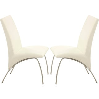 Kershner Contemporary Sleek Design Cream/ White Dining Chairs (Set of 2)
