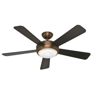 Hunter Fan Palermo 52-inch Brushed Bronze with 5 Black/ Walnut Reversible Blades