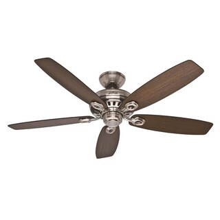 Hunter Fan Markham 52-inch Brushed Nickel with 5 Medium Walnut/ Dark Walnut Reversible Blades - Brown