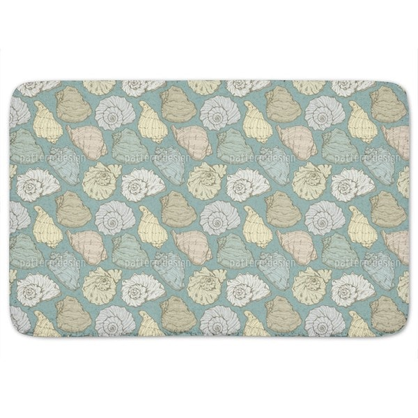 Handdrawn Seashells Bath Mat