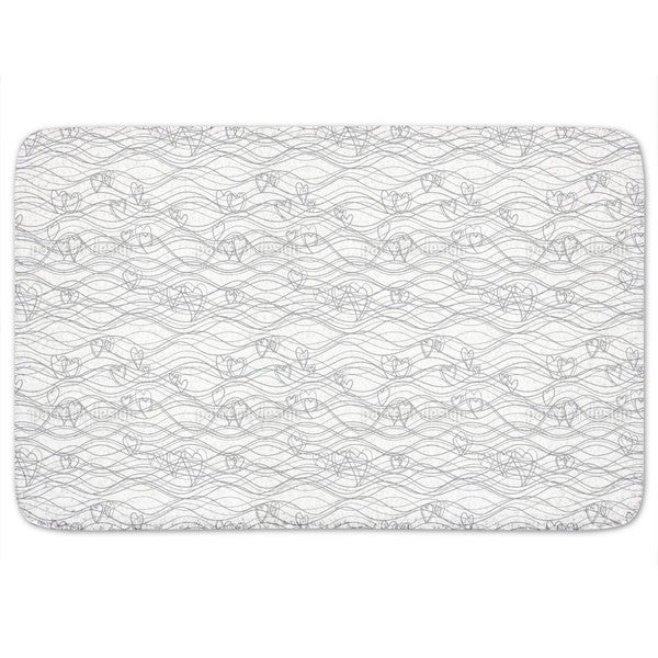 Heart Lengths White Bath Mat