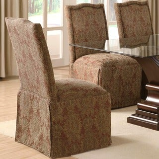 Cambridge Upholstered Classic Skirted Chair with Nail Head Trim (Set of 2)