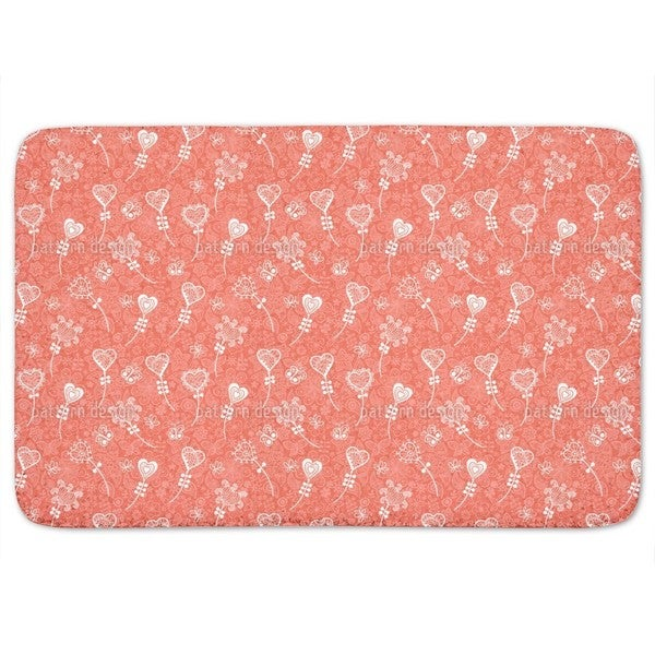 Heart Flower Fantasy Bath Mat