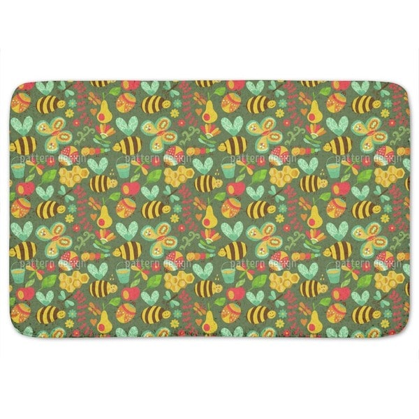 Busy Honey Bees In The Woods Bath Mat