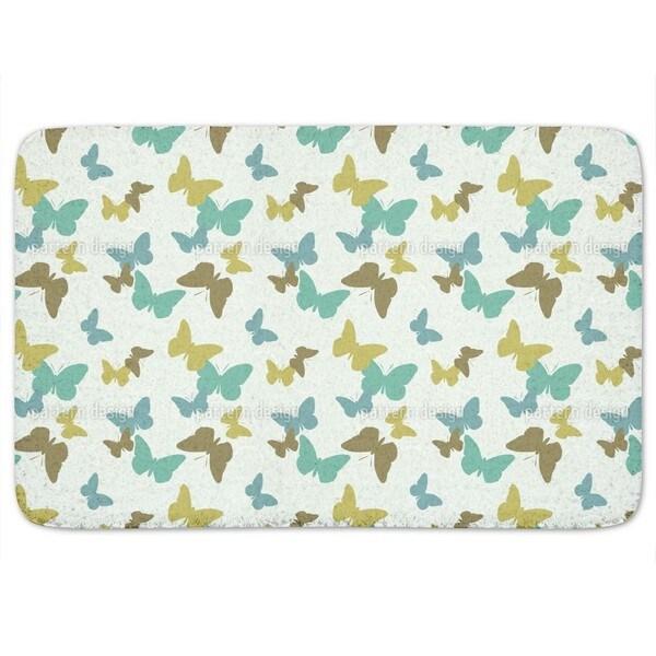 Time Of The Butterflies Green Bath Mat