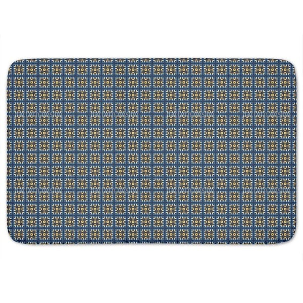 Tiles In Blue And Gold Bath Mat