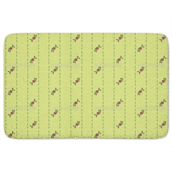 Roses On Green Bath Mat