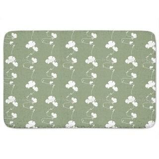 Romantic Floral Design Green Bath Mat