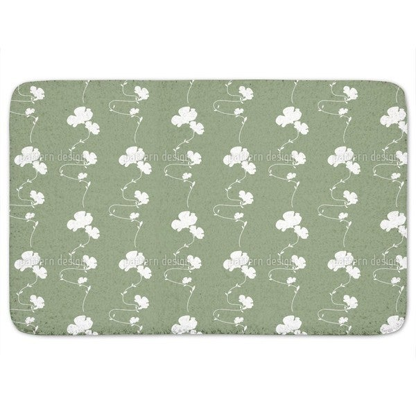 Romantic Floral Design Green Bath Mat