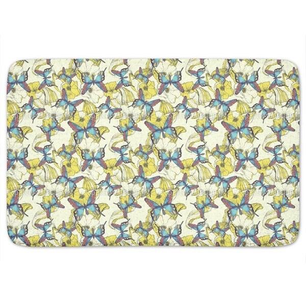 Ocean Of Flowers And Butterflies Bath Mat