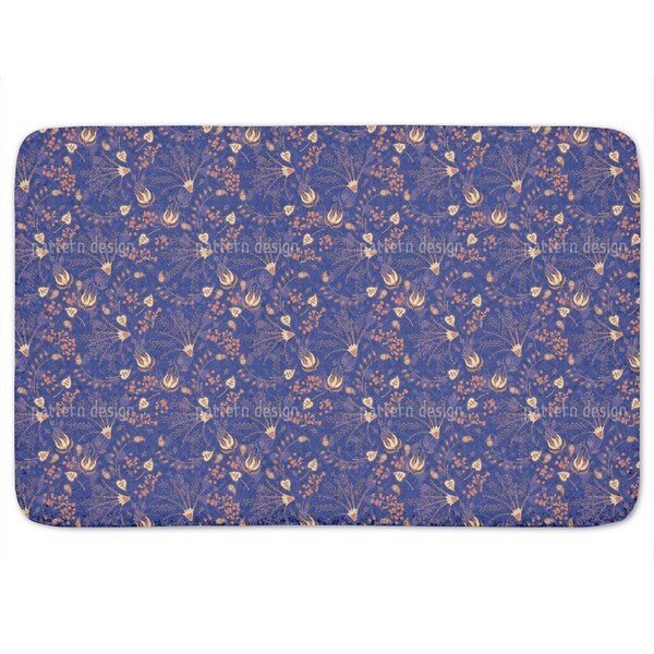 Natashas Enchanted Garden Blue Bath Mat