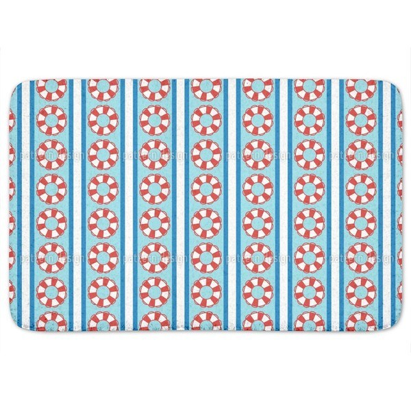 Rescue Rings On Stripes Bath Mat