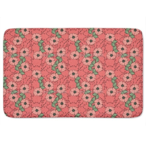 Red flowers with leaves Bath Mat