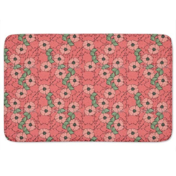 Red Flowers With Leaves Bath Mat Multi Color Overstock 11609809