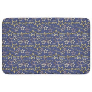 Merry Christmas Blue Bath Mat