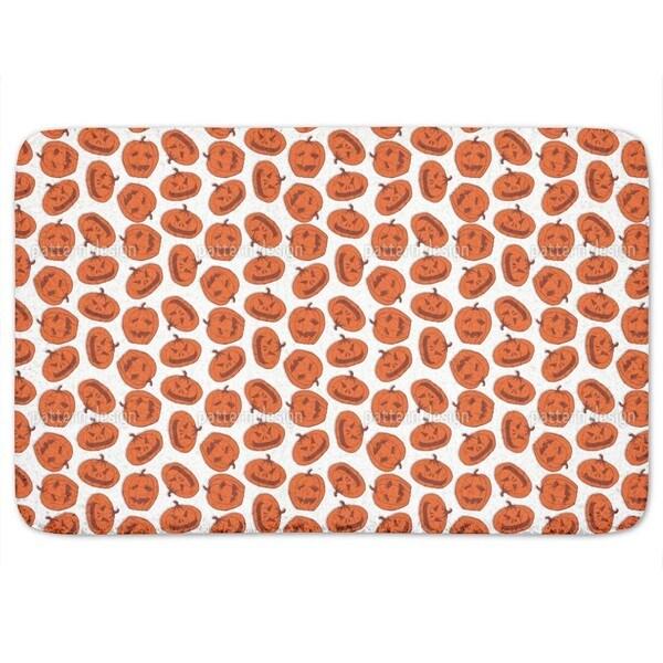 Pumpkin Heads White Bath Mat