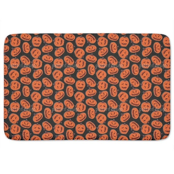Pumpkin Heads Black Bath Mat