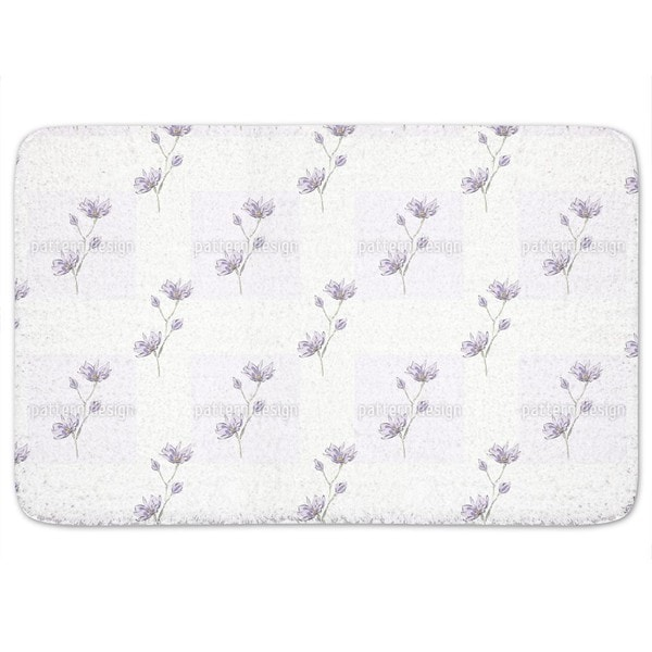 Magnolia Blossom Squares Bath Mat