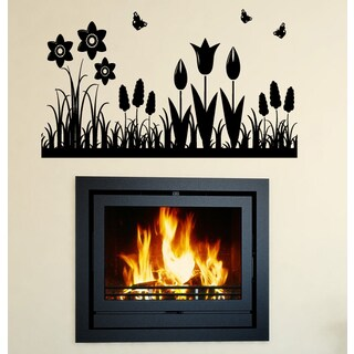 Nature butterfly plant Wall Art Sticker Decal