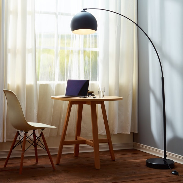 Versanora Arquer Black Marble Arc Floor Lamp