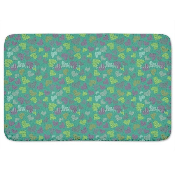 Fine Lined Hearts Bath Mat