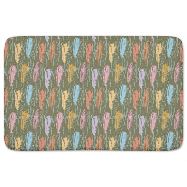 Feathers Handdrawn Colorful Bath Mat
