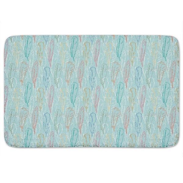 Feathers Handdrawn Azur Bath Mat