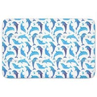 Dolphins In Water Color Bath Mat