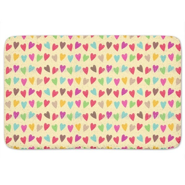 Crocheted Hearts Bath Mat