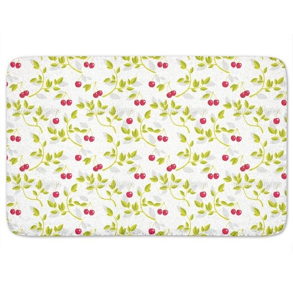 Cherry Branches White Bath Mat